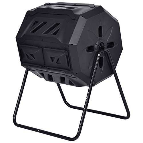 Aromzen 43-Gallon Compost Tumbler Garden Waste Bin Grass Food Trash Barrel Fertilizer