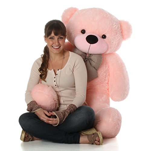 Cuddly Pink Teddy Bear - Giant Teddy Brand - 4 Foot Huge Cuddly Stuffed Animal Girlfriend (Cotton Candy Pink)