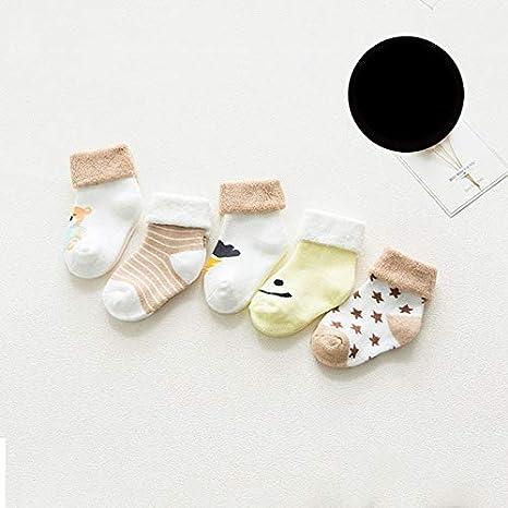 Xiaobing 5 Pares de Calcetines de recién Nacido de algodón cómodos de Dibujos Animados Gruesos para niños, recién Nacidos, niñas, Calcetines de bebé - 5004-xiong, 12M