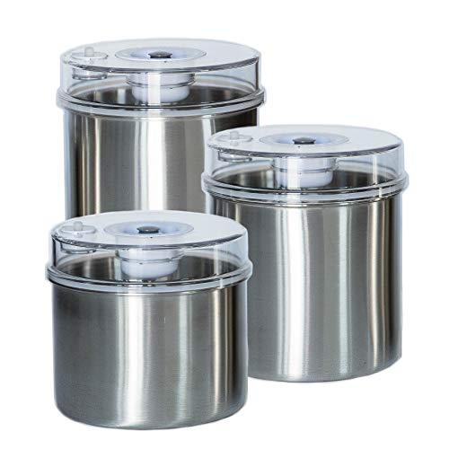 Vacuum Food Storage Canisters 3-Piece Set Stainless Container Bottoms, Clear See-Thru Lid with Vacuum Indicator and Universal Hose Attachment Keeps Food Fresh Coffee, Pasta, Fruit, Marinade Avid ()