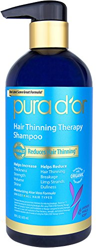 PURA DOR Hair Thinning Therapy Shampoo for Prevention, VANILLA LAVENDER Scent with Argan Oil, Biotin & Natural Ingredients, Sulfate Free, All Hair Types, Men and Women, 16 Fl Oz (Packaging may vary)