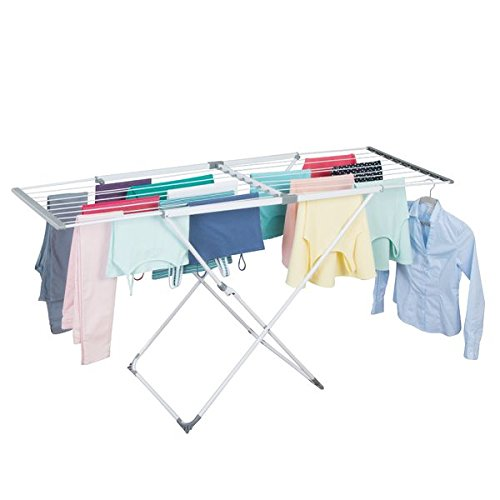 "mDesign Expandable Drying Rack - Collapsible Clothes Drying Rack - Accordion Drying Rack Expands to 70.5"" - Folding Laundry Rack for Laundry Rooms - White/Grey"