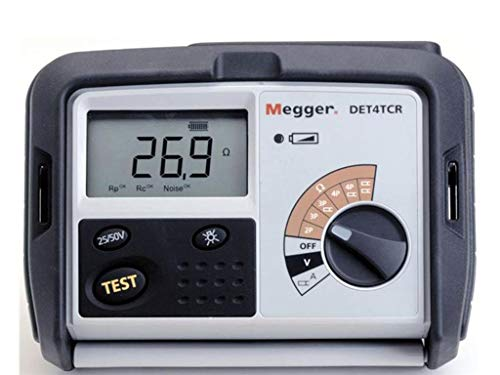 Megger DET4TC2 4-Terminal Ground Resistance Tester with Dry-Cell Battery, 0.01-200,000 Ohms Resistance Range