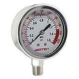 """DIGITEN 3/8"""" Water Pressure Gauge Meter 0-1.6MPa"""