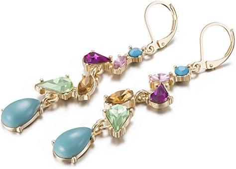Pendientes Largos bohemio, LARESDOMI Pendientes de Cristal Multicolor Estilo retro étnico para Mujeres