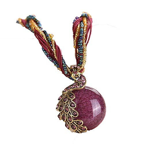 FEDULK Bohemian Jewelry Womens Tassel Rhinestone Peacock Gem Ethnic Style Pendant Statement Necklace(Purple)