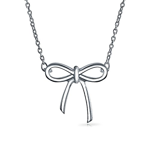 Bling Jewelry Open Ribbon Pendant Sterling Silver Necklace 16 Inches (Pendant Bow Silver)