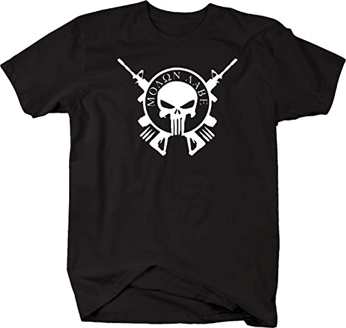 Molon Labe Punisher Skull Crossed AR15 Rifles T shirt - Xlarge