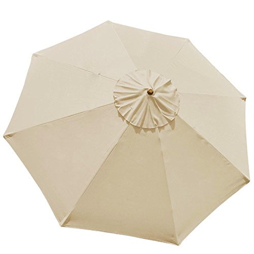 10FT 8 Ribs Umbrella Cover Canopy Tan Replacement Top Patio Market Outdoor Beach by Generic