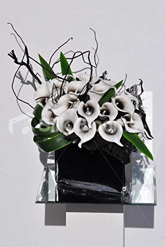 Silk Blooms Ltd 人工ブラックセンチュレッドカラリと木製花瓶 アレンジメント オーキッド葉付き B07H8GYZTH