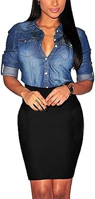 eleery Mujer Moderna manga larga Ocio Blusa Camisa desenfadada de solapa de cowboy Jeans, azul oscuro: Amazon.es: Deportes y aire libre