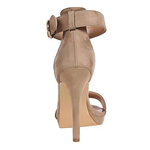 z&dw Zapatos de mujer simple tacones de tacón fino cinturón hebilla con sandalias Caqui