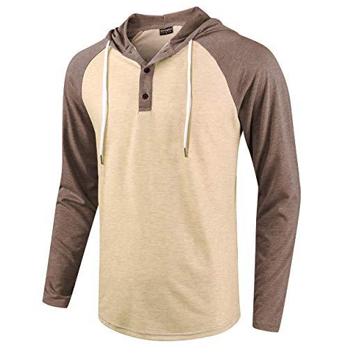 (Moomphya Men's Jacquard Knitted Casual Long Sleeve Raglan Henley Jersey Hoodie T Shirt (Brown.Khaki, Medium))