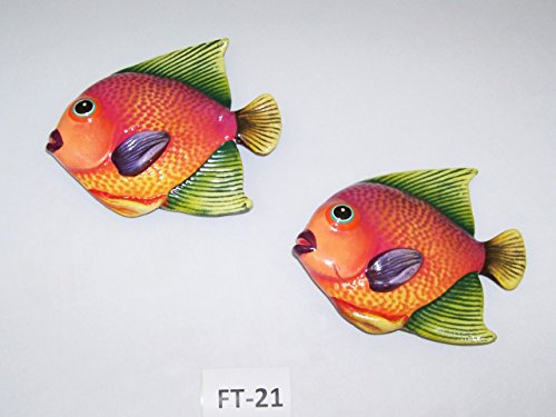 Two Ceramic Pottery Talavera Inspired Wall Hanging Fish Home Decor- Sku#FT-21