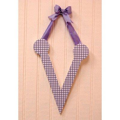 Gingham Letters Check Hanging Initials Color: Lavender, Letter: V