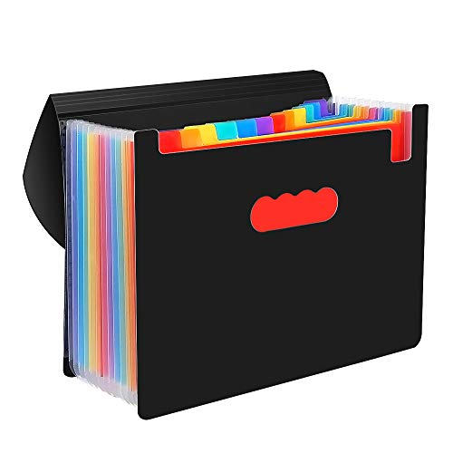 File Folders, VEYETTE Colored 12-Pocket Expanding File Folder with Tags and Closure for Classroom, Home, Office and Travel Use, A4 Size and Letter Size ()