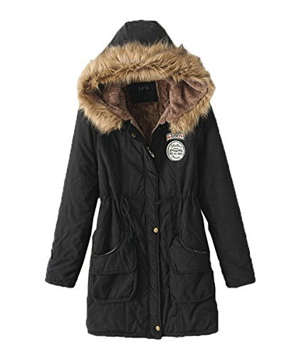 Hooded Jacket Bigood Overcoat Womens Parka Black Casual Warm Outwear qxw1BtZ