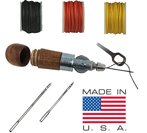 Knife Sheath Making and Repairs Sewing Awl Tool Kit, Lock Stitching Handheld Awl - Made in USA – (3 Thread Colors) ()