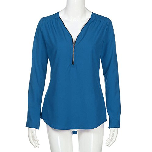 Col V Casual Chemisiers Manche Couture de Zipp Blouse Femme 3 4 T Bleu Chemise Tops clair Shirts Moussline Soie Tunique Solike en 0xTwYw