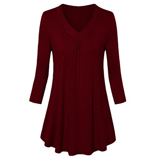 (Londony ♥‿♥ Clearance Sales,Tops for Women Plus Size V-Neck Long Sleeve Tunic Tops Loose Basic Shirt Blouse)
