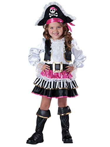 Pirate Baby Girl Costumes (InCharacter Baby Girl's Pirate Girl Costume, Pink/White, 4T)