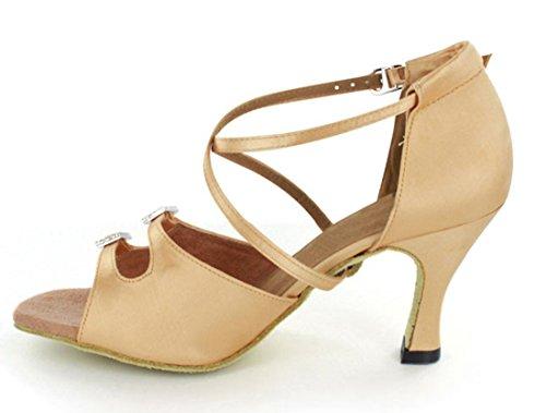 Tango Satin Latin US M Strap Women's 5 Shoes Salsa Crystals Wedding TDA 9 Ankle Dance Beige Ballroom Modern AF0BqSg
