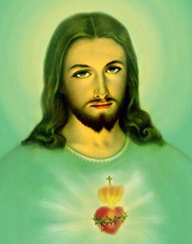 Amazon.com  Sacred Heart of Jesus Green - Sagrado Corazon de Jesus ... 76deb4a025d