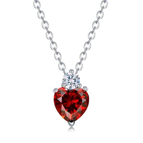 (Girl Necklace Pave Heart Love Shape Ruby Garnet Crystal Gem Pendant Rhinestone Ruby Birthstone Jewelry)