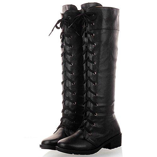 High Combat Black Lace Heel Mid RAZAMAZA Women Up Boots wxpqHz4X