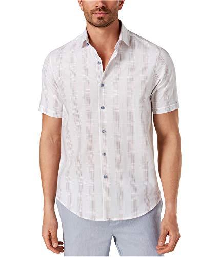 Tasso Elba Mens Latomie Dobby Stripe Button Down Shirt White XL