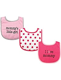 3 Piece Drooler Bibs with Fiber Filling for Girls, I love Mommy