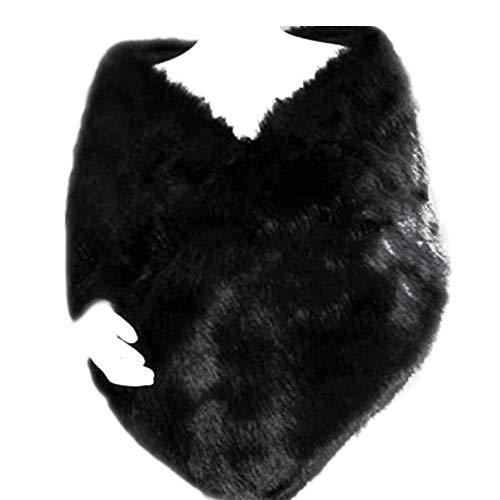 Dikoaina White Faux Fur Wrap Shawl Shrug Bolero Cape for Bridal Winter Weddings Lady Gift (Black)