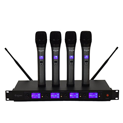 Professional Vhf Wireless Handheld Microphone (Costzon 4 Channel VHF Handheld Wireless Microphone System w/4 Mics)