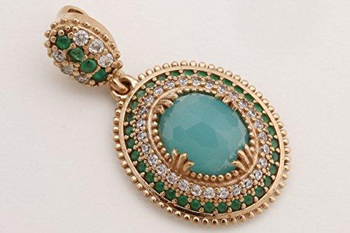 Turkish Handmade Jewelry Oval Shape Aquamarine and Round Cut Emerald Topaz 925 Sterling Silver Pendant