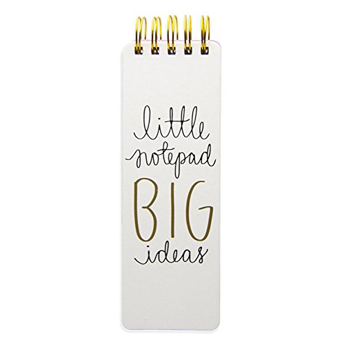 Eccolo Dayna Lee Collection Go-Getter WhiteBig Ideas 3x8.5 Hardcover Spiral Memo Pad, 300 Pages
