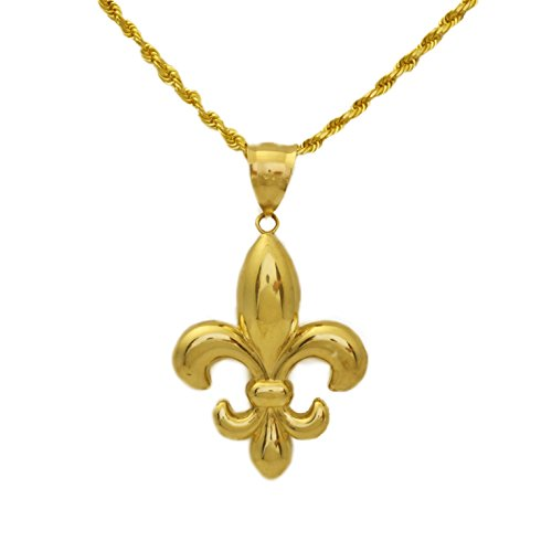 LoveBling 10k Yellow Gold High Polished Fleur De Lis Symbol Charm Pendant (Large ; 1.95 x 0.97)
