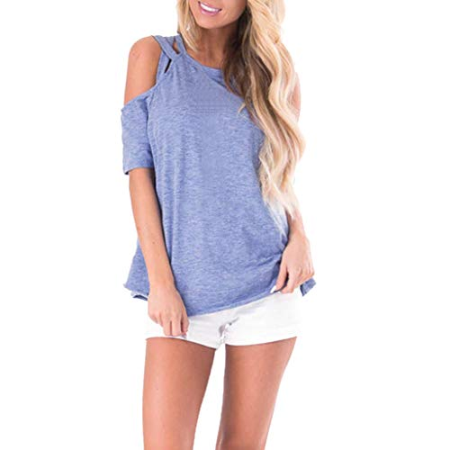 Gemira Criss Cross Cold Shoulder Top for Women's Casual Tunic Top Short Sleeve Strappy T-Shirt Tees