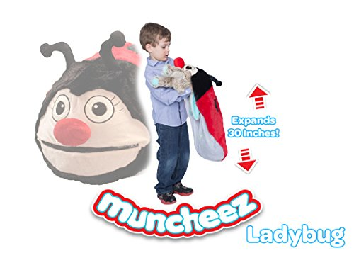 Muncheez Stuffed Animal Toy Storage for Children, Ladybug - Perfect for Kids - SUPER SOFT Fabric - 7 Plush Animal Choices - Upgrade Your Mesh Toy Nets & Toy Hammock - Extra Storage for Your Toys (Stuffed Animals Lady Bug)