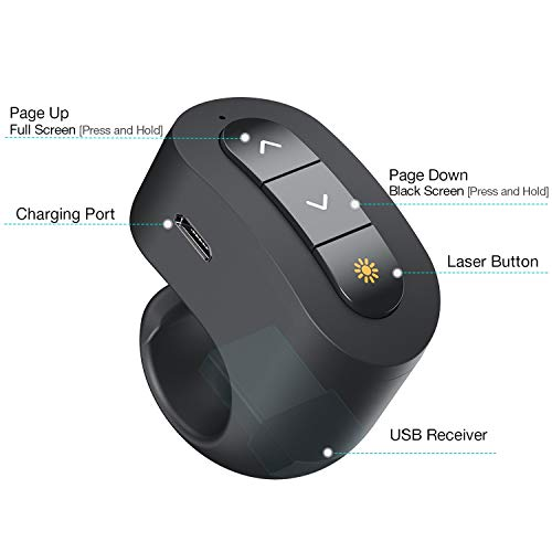 DinoFire Wireless Presenter Finger Ring USB Powerpoint Presentation Clicker Rechargeable RF 2.4 GHz Presentation Remote Control Laser Pointer Slide Advancer Support Mac Photo #2