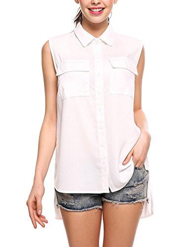 SE MIU Women Chiffon Sleeveless Blouse Button Down High Low Shirt Pocket Tank Work Tops - Sleeveless Button Waist Shirt