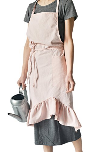 TOCONFFON Kitchen Cute Apron Restaurant Aprons for Women(Pink,27.5x35.4) by TOCONFFON