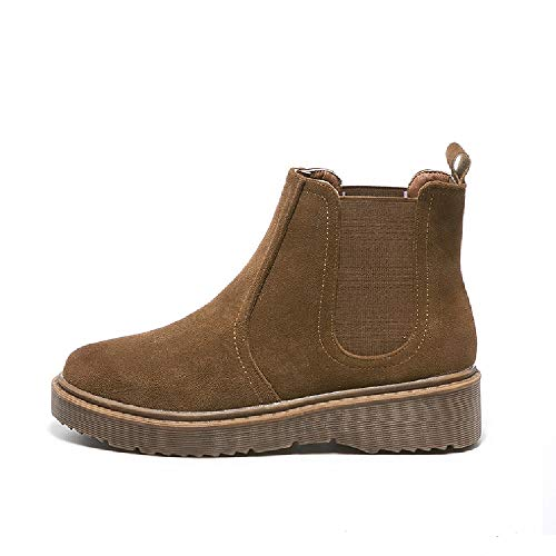 Braun Casual Damenschuhe Damen Plüsch Fashion Stiefeletten Low Stiefel Retro Runde Wildleder LIANGXIE Chelsea Kopf Booties aOqU6TH1H
