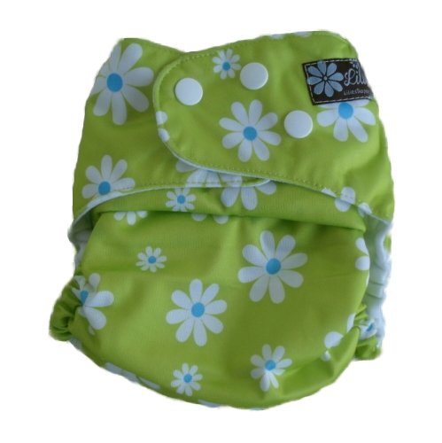 Lilies Daisies on Green Pocket Diaper