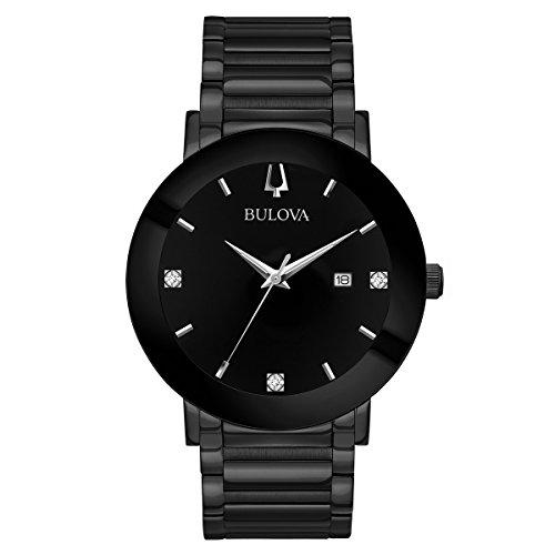 Bulova Men's 'Modern' Quartz Stainless Steel Casual Watch, Color:Black (Model: 98D144)