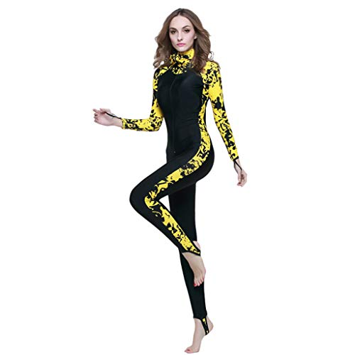 Allywit Women Anti-uv Diving Suit One-Piece Swimming Wetsuit Warm Snorkeling Clothing Plus Size Yellow