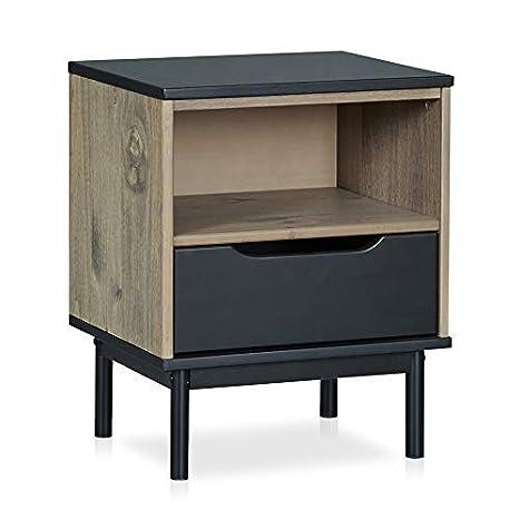 Amazon.com: MUSEHOMEINC Mesita de noche de madera con cajón ...