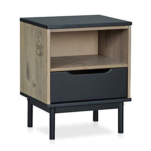 MUSEHOMEINC Mid-Century Modern Wood Nightstand with Storage Drawer and Shelf for Bedroom/Metal Leg Design/End Table/Side Table, Black and Antique Gray ()