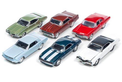 (Auto World 1:64 Johnny Lightning Collection - Muscle Cars USA - 2016 Release 2C Diecast Model Car Set of 6 Cars)