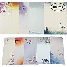 40 Pcs Letter Writing Stationery Paper Letter Set, with 20 Pcs Envelopes, Ink Painting Design Assorted Color (40 Stationeries + 20 Envelopes)