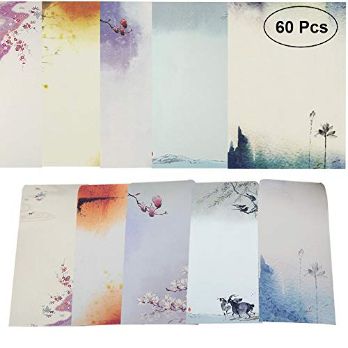 40 Pcs Letter Writing Stationery Paper Letter Set, with 20 Pcs Envelopes, Ink Painting Design Assorted Color (40 Stationeries + 20 Envelopes)